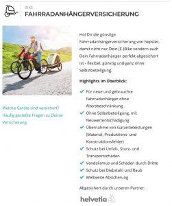 Fahrradanhängerversicherung von hepster